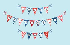 Cute USA festive bunting flags in traditional colors ideal as american holidays banner. Cute USA festive bunting flags in traditional colors for your decoration royalty free illustration
