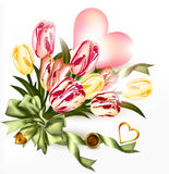 Cute valentine background with  pink heart and realistic tulip f Stock Images