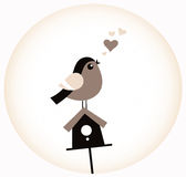Cute Valentine Bird with a Birdhouse ( retro brown Royalty Free Stock Images
