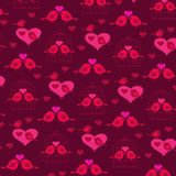 Cute valentine birds with hearts and birdcage. Background pattern vector illustration