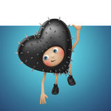 Cute Valentine black heart cartoon with banner Royalty Free Stock Photography