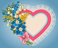 Cute valentine card. With heart, bouquet of spring flowers and place for your text Royalty Free Stock Photography