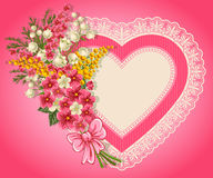Cute valentine card. With heart, bouquet of spring flowers and place for your text Royalty Free Stock Images