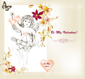 Cute Valentine card in vintage style with angel symbol of love a Stock Photography