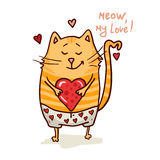 Cute valentine cat Royalty Free Stock Image