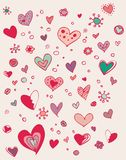 Cute valentine doodle. Cute valentine hearts Stock Photos