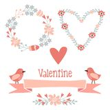 Cute valentine elements set with flowers, wreath,  Stock Images