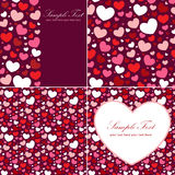 Cute Valentine heart set. Of congratulation cards and seamless backgrounds Royalty Free Stock Images