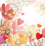 Cute valentine pastel floral vintage background Royalty Free Stock Images