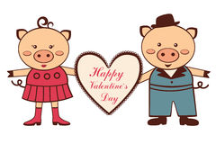 Cute Valentine pigs Stock Photography