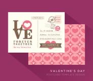 Cute Valentine postcard card design Vector Template. Cute Valentine LOVE postcard card design Vector Template Stock Photography