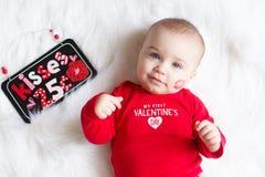 Cute Valentine`s day baby boy stock photos