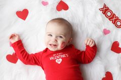 Cute Valentine`s day baby boy stock images
