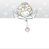 Cute Valentine's day banner with sketch Cupid Stock Images
