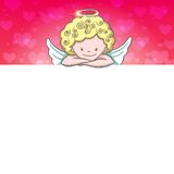 Cute Valentine's day banner with sketch Cupid Royalty Free Stock Image