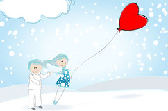 Cute Valentine's Day boy and girl Stock Photography