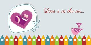 Cute Valentines day  card. Lovely Valentines day  card with a cute heart and bird Royalty Free Stock Photography
