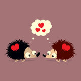 Cute Valentine`s Day card with two cartoon hedgehogs falling in love with each other. Cute Valentine`s Day card with two adorable cartoon hedgehogs falling in Royalty Free Stock Image