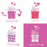 Cute valentine`s day cards collection Stock Image