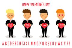 Cute Valentine`s Day cartoon characters of loving boys with heart in hands Royalty Free Stock Photography