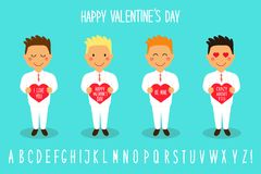 Cute Valentine`s Day cartoon characters of loving boys with heart in hands Stock Image