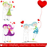 Cute Valentine's Day couples. Vector set of Cute Valentine's Day couples Stock Photography
