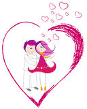 Cute Valentine's Day heart with boy and girl Royalty Free Stock Image