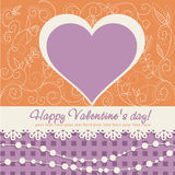 Cute Valentine's Day heart postcard Royalty Free Stock Image