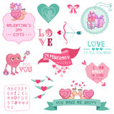 Cute Valentines Day and Love Set Royalty Free Stock Photos