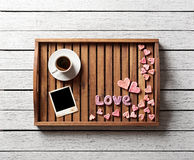 Cute valentine's items on salver Stock Image
