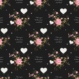 Cute valentine s seamless pattern with hearts. I love you to the moon and back. Eps 10 Stock Illustration