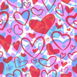 Cute valentine seamless pattern with hearts. Love theme. Weddi Stock Photo