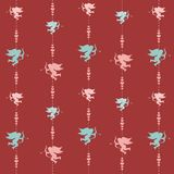 Cute valentine seamless pattern with silhouettes of amor Royalty Free Stock Images