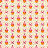 Cute Valentine seamless vintage pattern. Vector illustration for romantic nostalgia design. Happy Valentine's day design with sweet cupcake, butterfly and Stock Photos