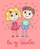 Cute Valentines card with children. Royalty Free Stock Photo