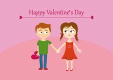 Cute valentines couple, girl and boy. Happy Valentine's Day Greeting Card. Valentine's Day illustration with a couple happy children. Children's illustration Stock Photos