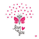 Cute valentines day card butterfly hearts pink white Royalty Free Stock Photography