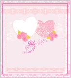 Cute valentines day card with cupids Stock Images