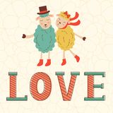Cute Valentines day card with cute happy sheeps Royalty Free Stock Image