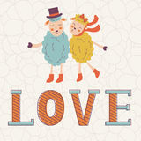 Cute Valentines day card with word love and cute Stock Images