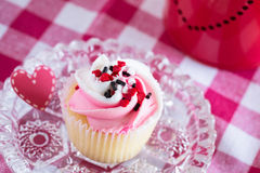 Cute Valentines Day Cupcake on Glass Plate Royalty Free Stock Images
