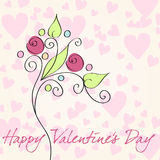Cute Valentines Day illustration. Vector cute hand drawn style floral doodle romantic Valentines Day background illustration stock illustration