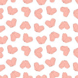Cute Valentines day Illustration. Wedding seamless pattern with origami hearts Stock Images