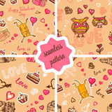 Cute valentines patterns set Royalty Free Stock Photo