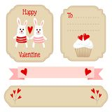 Cute valentines wedding set - labels, ribbons, emblems, other elements,  illustration Stock Photography