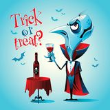 Halloween Vampire with a glass. Vector character royalty free stock photos