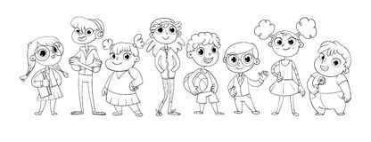 Cute variety of children. Standing in a row. Vector illustration. Funny cartoon character. Isolated on white background. Coloring book Stock Images