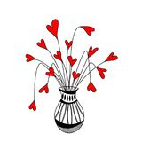 Cute vase with hearts flowers. Suitable for Mother`s Day, Father`s Day, Valentines Day, Romantic invitations and any more Royalty Free Stock Images