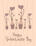 Cute vase with hearts flowers. Happy Valentines Day design. Holiday card. Cartoon style Stock Photography