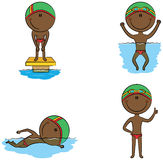 Cute vector African-American swimmer boys in different sport sit Royalty Free Stock Image